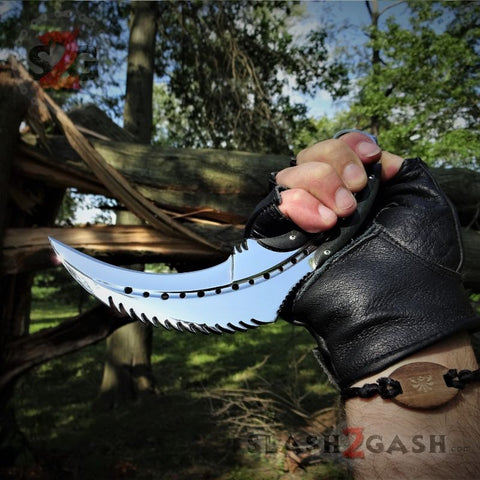 Scorpion Claw Karambit Knife G10 Handle - Mirror Finish Polished Chrome w/ Kydex Sheath - slash2gash S2G