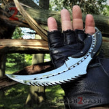 Scorpion Claw Karambit Knife G10 Handle - Shiny Mirror Finish Polished Chrome w/ Kydex Sheath slash2gash S2G