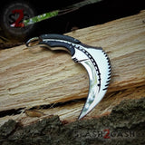 Scorpion Claw Karambit Knife G10 Handle - Mirror Finish Polished Chrome w/ Kydex Sheath slash2gash S2G