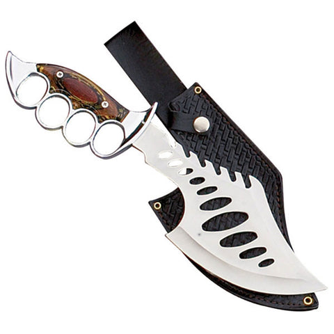 Silver Knuckle Fantasy Fixed Blade Knife w/ Leather Sheath - 15 Inch HK-983