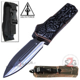 Delta Force Reaper Grey Skull D/A OTF Automatic Knife 440c Double Edge Plain Silver