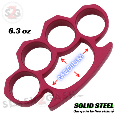 Medium/Large Pink Knuckles Crown Knuckle Duster Solid Steel Paper Weight