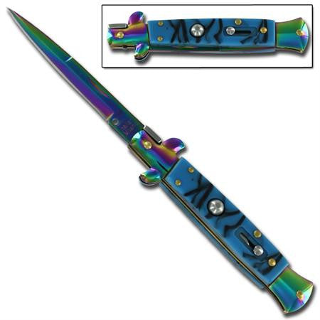 "9"" Italian Milano Stiletto Blue Titanium Rainbow Classic Automatic Knife"
