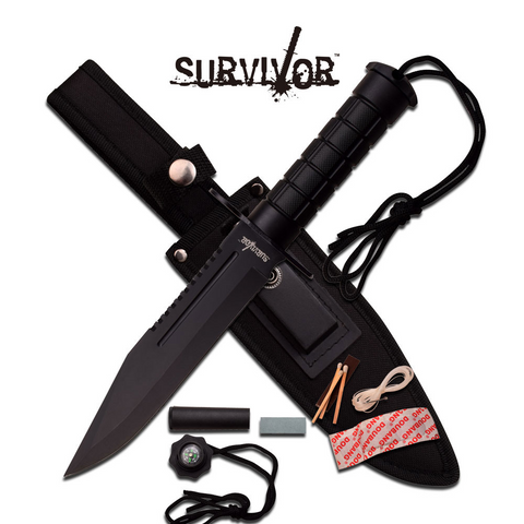 Survivor Hunting Knife Black Tactical Rambo Style w/ Survival Kit