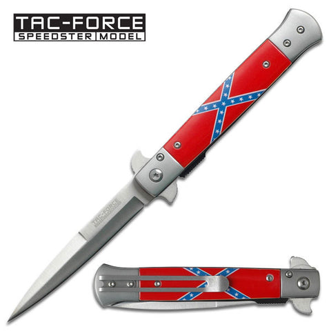 TAC-FORCE Rebel Flag Confederate Spring Assisted Knife - Stiletto TF-598RF