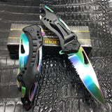 Rainbow Spring Assisted Tactical Knife w/ Bottle Opener + Screwdriver
