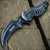 Skull Ribcage Spring Assisted Knife Skeleton Claw Folding Karambit