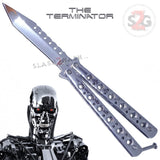 Slash2Gash Chrome Terminator Butterfly Knife Mirror Finish Balisong SHINY High Polished Tanto S2G