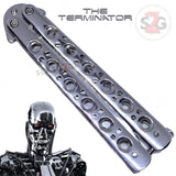 Chrome Terminator Butterfly Knife Mirror Finish Balisong SHINY High Polished Tanto Slash2Gash S2G