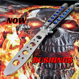 The ONE Balisong Benchmade 4x Clone Butterfly Knife Channel w/ BUSHINGS spring latch 40 Trainer Blue Holes
