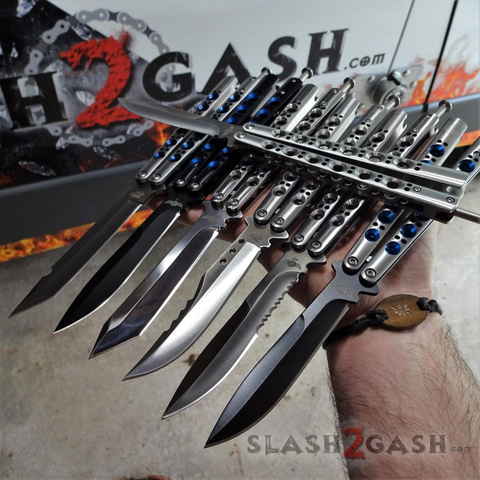 The ONE Balisong Benchmade 4x Clone Butterfly Knife Channel w/ BUSHINGS spring latch slash2gash S2G 42s 43 47
