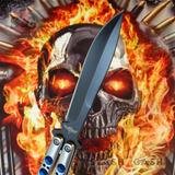The ONE Balisong Benchmade 4x Clone Butterfly Knife Channel w/ BUSHINGS spring latch Black 42 Satin Blue Holes