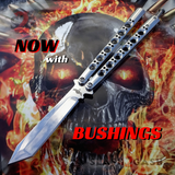 The ONE Butterfly Knife Benchmade 47 Clone Mirror Finish Chrome Balisong Channel Construction w/ BUSHINGS