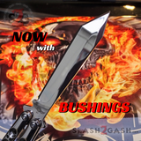 TheONE Balisong with BUSHING system 440C Channel Butterfly Knife - Chrome 47 Mirror with Spring Latch
