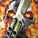 TheONE Balisong with BUSHING system 440C Channel Butterfly Knife - Satin 42 with Blue Holes and Spring Latch