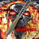 TheONE Balisong with BUSHING system 440C Channel Butterfly Knife - Satin 42 with Spring Latch