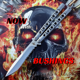 The ONE Balisong Benchmade 4x Clone Butterfly Knife Channel w/ BUSHINGS spring latch 42 Serrated