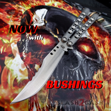 The ONE Balisong Benchmade 4x Clone Butterfly Knife Channel w/ BUSHINGS spring latch 43 Bowie Tyrannosaur