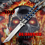 The ONE Balisong Benchmade 4x Clone Butterfly Knife Channel w/ BUSHINGS spring latch Tanto Halo Blue Holes