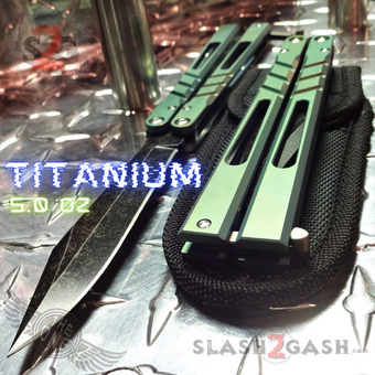 TheONE CHAB Butterfly Knife D2 TITANIUM Handle Balisong - Green Ano
