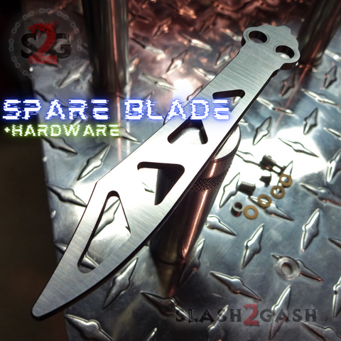The ONE CHAB Clone Spare Trainer Blade Replacement Hardware Practice Balisong D2 Butterfly Knife w/ Bushings Pivots Washers Training S2G slash2gash