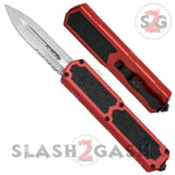 Titan OTF Dual Action Red Automatic Knife Satin Serrated Edge Dagger