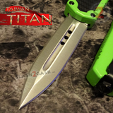 Taiwan Titan OTF D/A Green Automatic Knife Carbon Fiber Switchblade w/ Silver Double Edge - upgraded Dual Action out-the-front knives