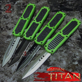 Taiwan Titan OTF D/A Lime Green Automatic Knife Switchblade - upgraded Dual Action out-the-front knives slash 2 gash Zombie Killer