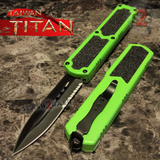 Taiwan Titan OTF D/A Green Automatic Knife Switchblade w/ Black Double Edge Serrated - upgraded Dual Action out-the-front knives