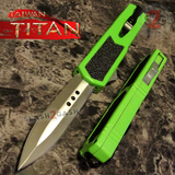 Taiwan Titan OTF D/A Green Automatic Knife Switchblade w/ Silver Double Edge Serrated - upgraded Dual Action out-the-front knives