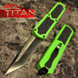 Taiwan Titan OTF D/A Green Automatic Knife Switchblade w/ Black Tanto - upgraded Dual Action out-the-front knives