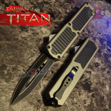 Taiwan Titan OTF D/A Grey Automatic Knife Carbon Fiber Switchblade Gray w/ Black Dagger - upgraded Dual Action out-the-front knives