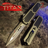 Taiwan Titan OTF D/A Grey Automatic Knife Carbon Fiber Switchblade Gray w/ Silver Dagger - upgraded Dual Action out-the-front knives