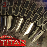 Taiwan Titan OTF D/A Grey Automatic Knife Switchblade Gray - upgraded Dual Action out-the-front knives slash 2 gash