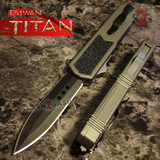 Taiwan Titan OTF D/A Grey Automatic Knife Switchblade Gray w/ Black Dagger - upgraded Dual Action out-the-front knives