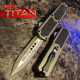 Taiwan Titan OTF D/A Grey Automatic Knife Switchblade Gray w/ Silver Dagger - upgraded Dual Action out-the-front knives