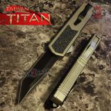 Taiwan Titan OTF D/A Grey Automatic Knife Switchblade Gray w/ Black Tanto - upgraded Dual Action out-the-front knives
