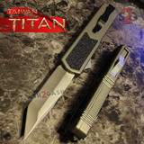 Taiwan Titan OTF D/A Grey Automatic Knife Switchblade Gray w/ Silver Tanto - upgraded Dual Action out-the-front knives
