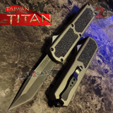 Taiwan Titan OTF D/A Grey Automatic Knife Switchblade Gray w/ Black Tanto Serrated - upgraded Dual Action out-the-front knives
