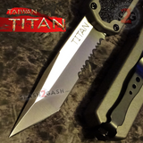 Taiwan Titan OTF D/A Grey Automatic Knife Switchblade Gray w/ Silver Tanto Serrated - upgraded Dual Action out-the-front knives