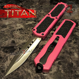 Taiwan Titan OTF D/A Pink Automatic Knife Switchblade w/ Silver Double Edge - upgraded Dual Action out-the-front knives
