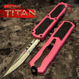 Taiwan Titan OTF D/A Pink Automatic Knife Switchblade w/ Silver Double Edge Combo - upgraded Dual Action out-the-front knives