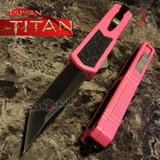 Taiwan Titan OTF D/A Pink Automatic Knife Switchblade w/ Black Tanto - upgraded Dual Action out-the-front knives