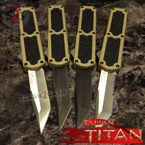 Taiwan Titan OTF D/A Desert Tan Automatic Knife Sand Switchblade - upgraded Dual Action out-the-front knives slash 2 gash