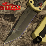 Taiwan Titan OTF D/A Desert Tan Automatic Knife Switchblade Sand w/ Black Tanto - upgraded Dual Action out-the-front knives