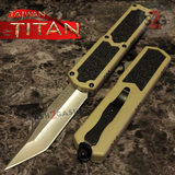 Taiwan Titan OTF D/A Desert Tan Automatic Knife Switchblade Sand w/ Silver Tanto - upgraded Dual Action out-the-front knives