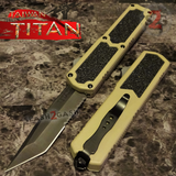 Taiwan Titan OTF D/A Desert Tan Automatic Knife Switchblade Sand w/ Black Tanto Serrated - upgraded Dual Action out-the-front knives