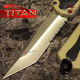Taiwan Titan OTF D/A Desert Tan Automatic Knife Switchblade Sand w/ Silver Tanto Serrated - upgraded Dual Action out-the-front knives