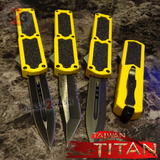 Taiwan Titan OTF D/A Yellow Automatic Knife Switchblade - upgraded Dual Action out-the-front knives slash 2 gash