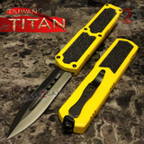 Taiwan Titan OTF D/A Yellow Automatic Knife Switchblade w/ Black Double Edge - upgraded Dual Action out-the-front knives